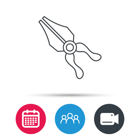 repairing: Pliers icon. Repairing fix tool sign. Group of people, video cam and calendar icons. Vector