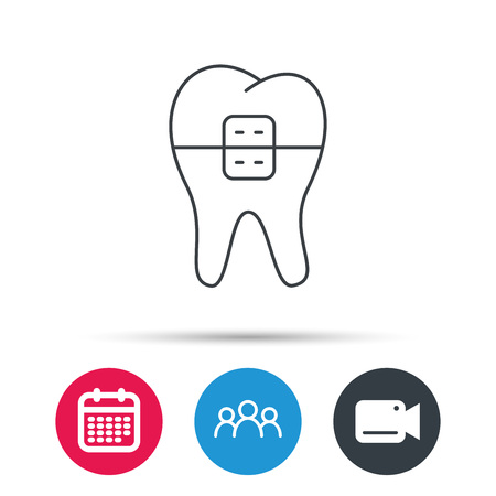 Dental braces icon. Tooth healthcare sign. Orthodontic symbol. Group of people, video cam and calendar icons. Vector