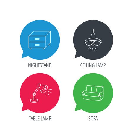 chat room: Colored speech bubbles. Sofa, table lamp and nightstand icons. Ceiling lamp linear sign. Flat web buttons with linear icons. Vector