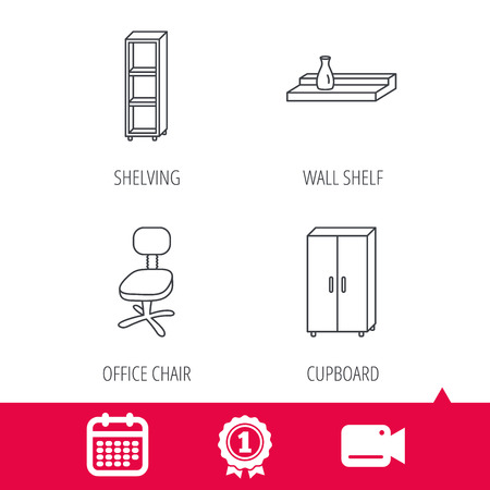 shelving: Achievement and video cam signs. Office chair, cupboard and shelving icons. Wall shelf linear sign. Calendar icon. Vector