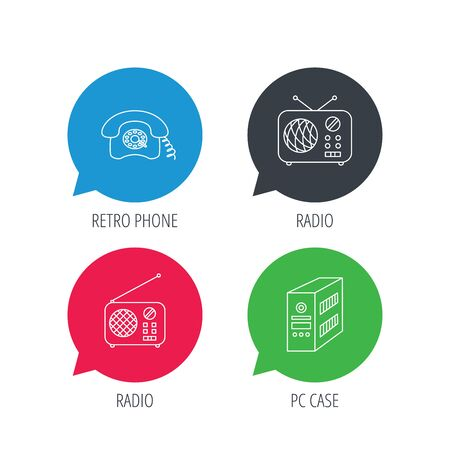 pc case: Colored speech bubbles. Radio, retro phone and pc case icons. Vintage radio linear sign. Flat web buttons with linear icons. Vector Illustration