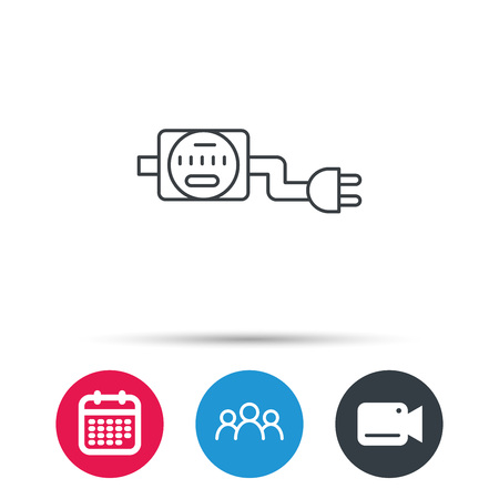 voltmeter: Electric counter icon. Electricity with plug sign. Group of people, video cam and calendar icons. Vector