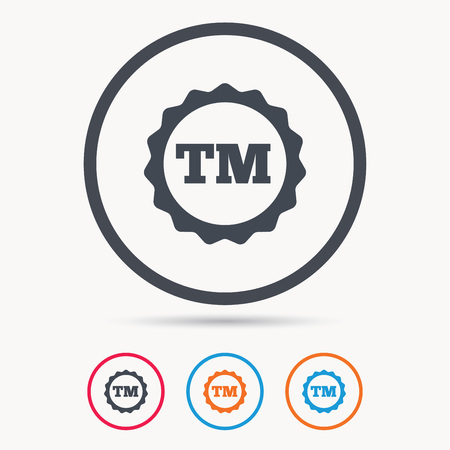 tm: Registered TM trademark icon. Intellectual work protection symbol. Colored circle buttons with flat web icon. Vector