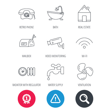Achievement and search magnifier signs. Wifi, video camera and mailbox icons. Real estate, bath and water supply linear signs. Radiator with heat regulator, phone icons. Hazard attention icon. Vector Illustration