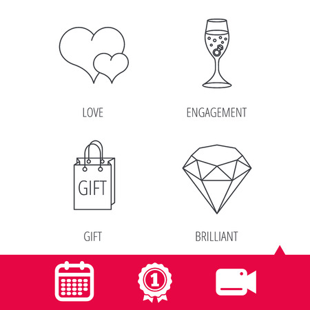 brilliant heart: Achievement and video cam signs. Love heart, gift box and wedding ring icons. Brilliant and engagement linear signs. Calendar icon. Vector Illustration