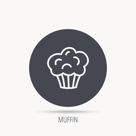 Muffin icon. Cupcake dessert sign. Bakery sweet food symbol. Round web button with flat icon. Vector Illustration