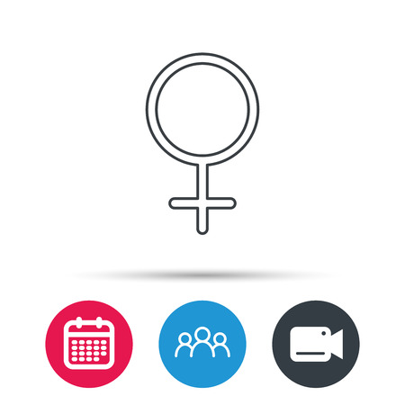 Female icon. Women sex sign. Group of people, video cam and calendar icons. Vector