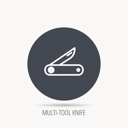 knive: Multitool knife icon. Multifunction tool sign. Hiking equipment symbol. Round web button with flat icon. Vector
