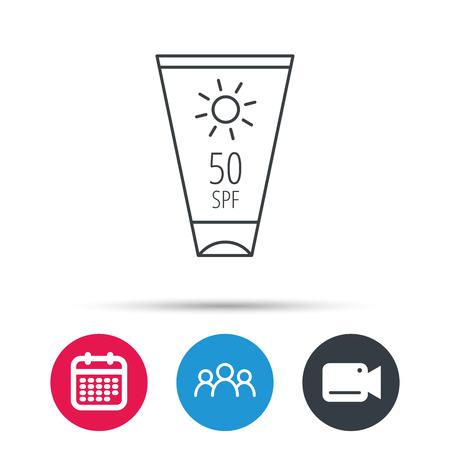 sun cream: Sun cream container icon. Beach lotion sign. Group of people, video cam and calendar icons. Vector Illustration
