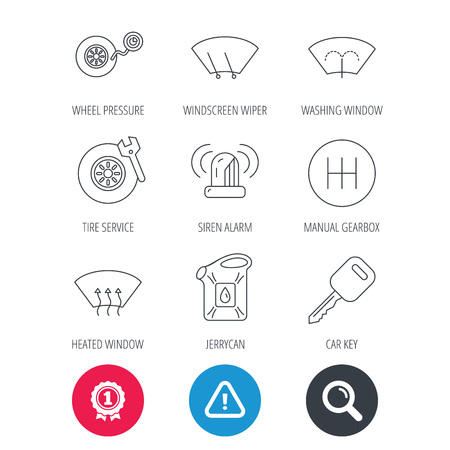 Achievement and search magnifier signs. Manual gearbox, tire service and car key icons. Siren alarm, jerrycan and wheel pressure linear signs. Window washing, wiper and heated icons. Vector