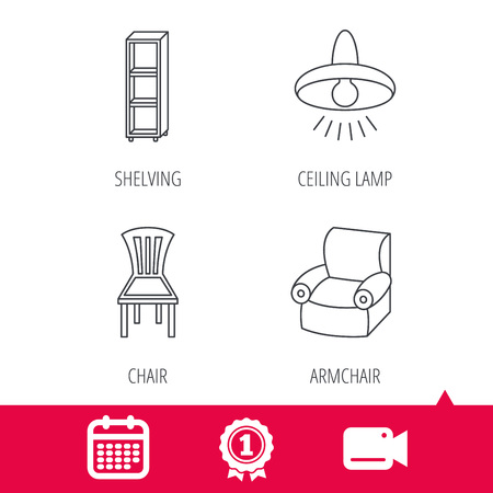 shelving: Achievement and video cam signs. Chair, ceiling lamp and armchair icons. Shelving linear sign. Calendar icon. Vector