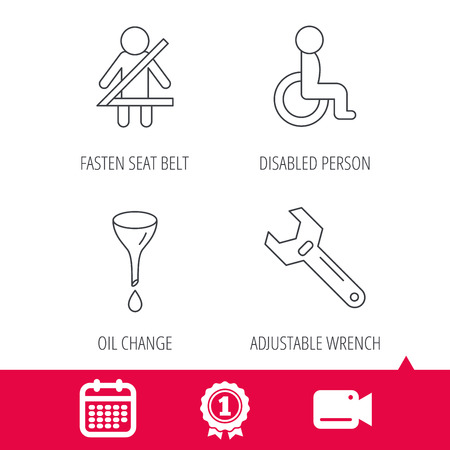 tool belt: Achievement and video cam signs. Seat belt, oil change and wrench tool icons. Disabled person linear sign. Calendar icon. Vector