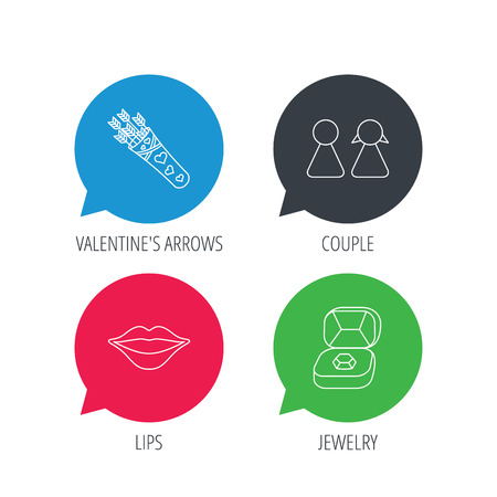 kiss lips: Colored speech bubbles. Couple, kiss lips and jewelry icons. Valentine amour arrows linear sign. Flat web buttons with linear icons. Vector