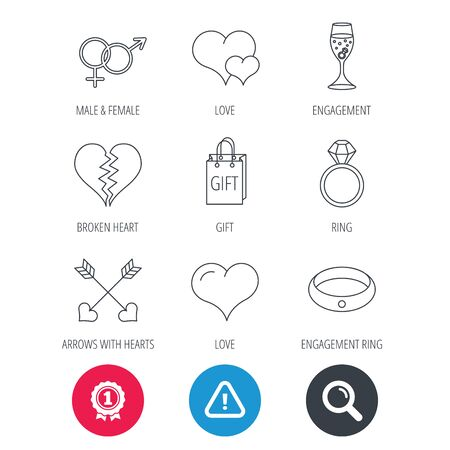 brilliant heart: Achievement and search magnifier signs. Love heart, gift box and wedding ring icons. Broken heart and engagement linear signs. Valentine amour arrows, brilliant flat line icons. Hazard attention icon