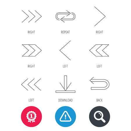 Achievement and search magnifier signs. Arrows icons. Download, repeat linear signs. Next, back arrows flat line icons. Hazard attention icon. Vector Illustration