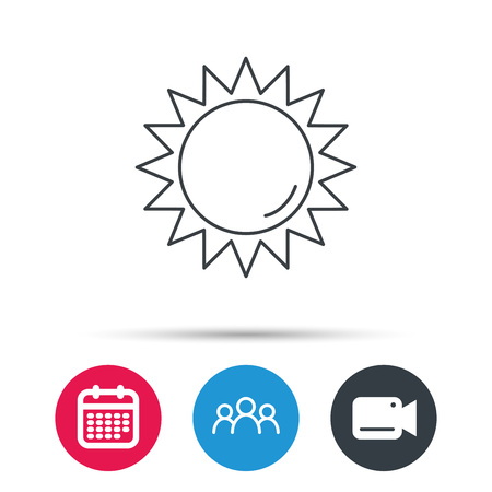 hot weather: Sun rays icon. Summer sign. Hot weather symbol. Group of people, video cam and calendar icons. Vector