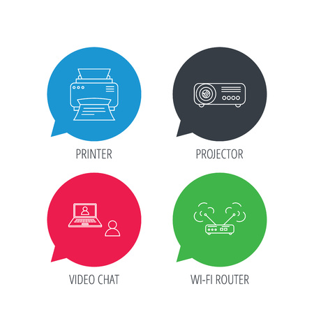 network router: Colored speech bubbles. Projector, printer and internet network router icons. Video chat linear sign. Flat web buttons with linear icons. Vector Illustration