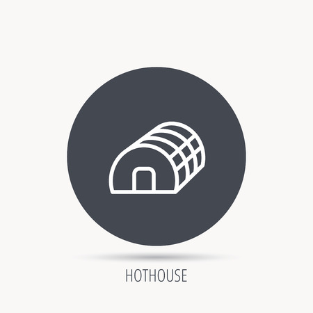 hothouse: Greenhouse complex icon. Hothouse building sign. Warm house symbol. Round web button with flat icon. Vector Illustration