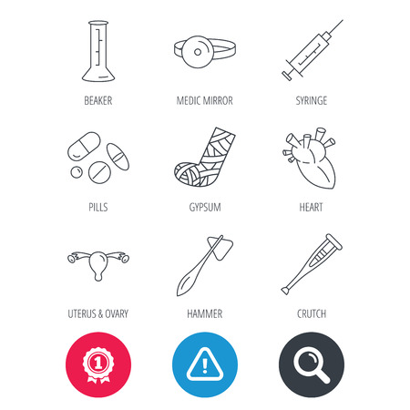 Achievement and search magnifier signs. Syringe, beaker and pills icons. Crutch, medical hammer and mirror linear signs. Heart, broken leg and uterus ovary icons. Hazard attention icon. Vector