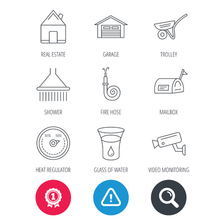 Achievement and search magnifier signs. Real estate, garage and heat regulator icons. Trolley, fire hose and mailbox linear signs. Shower, glass of water and video monitoring icons. Vector Illustration