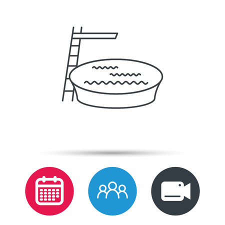 jumping into water: Swimming pool icon. Jumping into water sign. Group of people, video cam and calendar icons. Vector