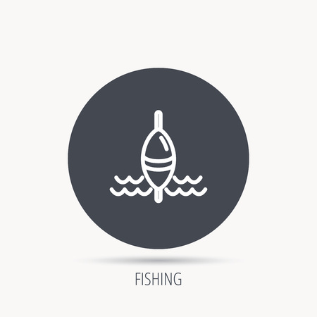 bobber: Fishing float icon. Fisherman bobber sign. Round web button with flat icon. Vector Illustration
