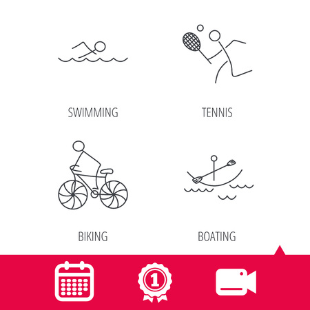 boating: Achievement and video cam signs. Swimming, tennis and biking icons. Boating linear sign. Calendar icon. Vector