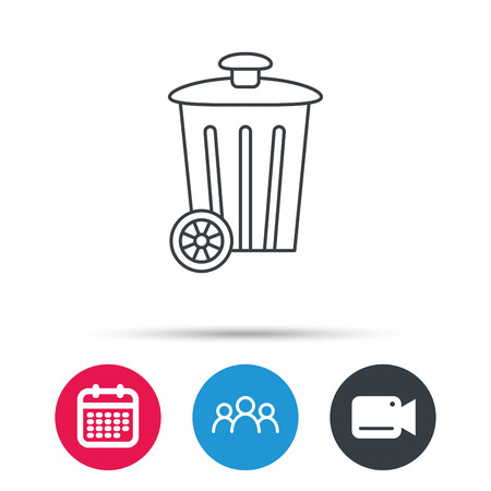 trash container: Recycle bin icon. Trash container sign. Street rubbish symbol. Group of people, video cam and calendar icons. Vector