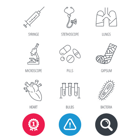 bacteria microscope: Achievement and search magnifier signs. Broken foot, lungs and syringe icons. Stethoscope, pills and microscope linear signs. Bacteria, heart and lab bulbs flat line icons. Hazard attention icon