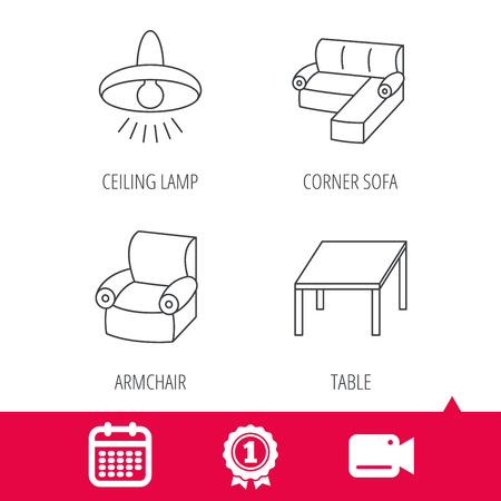 cosy: Achievement and video cam signs. Corner sofa, table and armchair icons. Ceiling lamp linear signs. Calendar icon. Vector