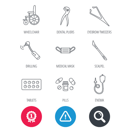 tweezers: Achievement and search magnifier signs. Medical mask, pills and dental pliers icons. Tablets, drilling tool and wheelchair linear signs. Enema, scalpel and tweezers flat line icons. Vector Illustration