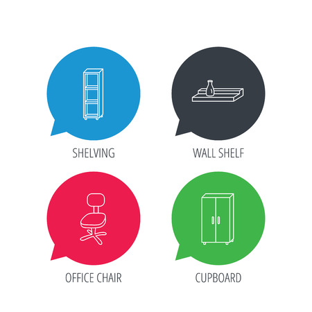chat room: Colored speech bubbles. Office chair, cupboard and shelving icons. Wall shelf linear sign. Flat web buttons with linear icons. Vector