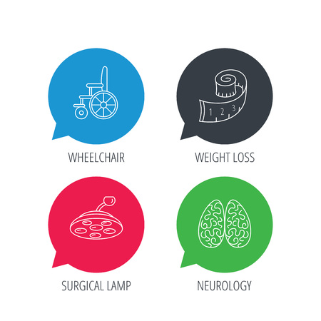 neurology: Colored speech bubbles. Wheelchair, neurology and weight loss icons. Surgical lamp linear sign. Flat web buttons with linear icons. Vector