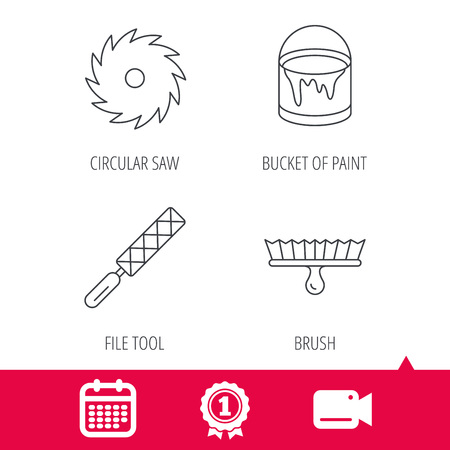 Achievement and video cam signs. File tool, circular saw and brush tool icons. Bucket of paint linear sign. Calendar icon. Vector