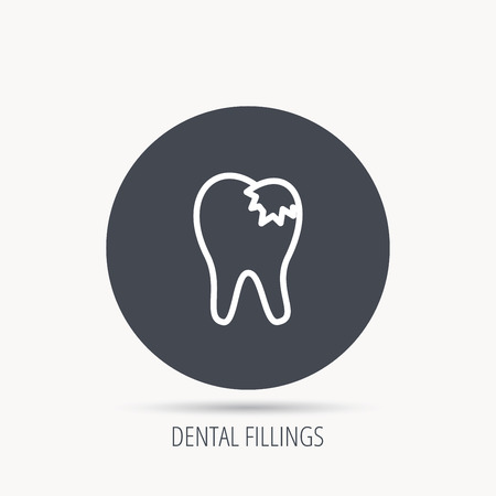 restoration: Dental fillings icon. Tooth restoration sign. Round web button with flat icon. Vector