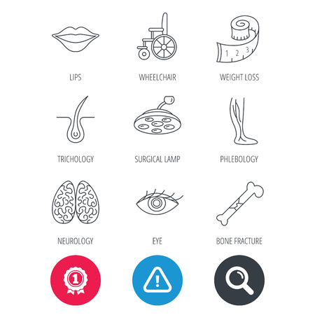 vision loss: Achievement and search magnifier signs. Eye, neurology brain and vein varicose icons. Wheelchair, bone fracture and trichology linear signs. Weight loss, lips and surgical lamp icons. Vector