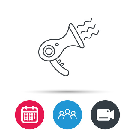 air diffuser: Hairdryer icon. Electronic blowdryer sign. Hairdresser equipment symbol. Group of people, video cam and calendar icons. Vector