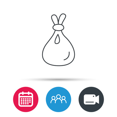 Burlap sack icon. Textile bag sign symbol. Group of people, video cam and calendar icons. Vector