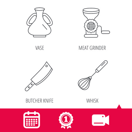 Achievement and video cam signs. Meat grinder, butcher knife and whisk icons. Vase linear sign. Calendar icon. Vector