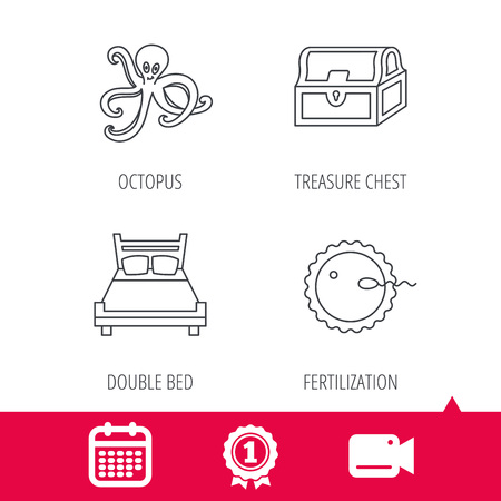 fertilization: Achievement and video cam signs. Fertilization, double bed and octopus icons. Treasure chest linear signs. Calendar icon. Vector