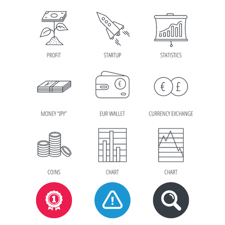 deceleration: Achievement and search magnifier signs. Profit investment, cash money and startup rocket icons. Wallet, currency exchange and euro linear signs. Chart, coins and statistics icons. Vector
