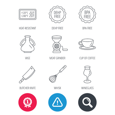 Achievement and search magnifier signs. Coffee cup, butcher knife and wineglass icons. Meat grinder, whisk and vase linear signs. Heat-resistant, DEHP and BPA free icons. Hazard attention icon. Vector