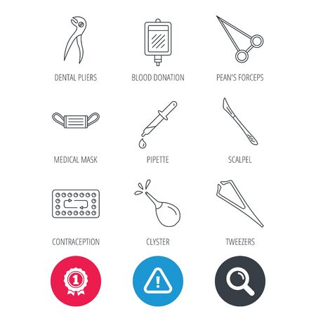contraception: Achievement and search magnifier signs. Medical mask, blood and dental pliers icons. Contraception, scalpel and clyster linear signs. Tweezers, pipette and forceps flat line icons. Vector Illustration