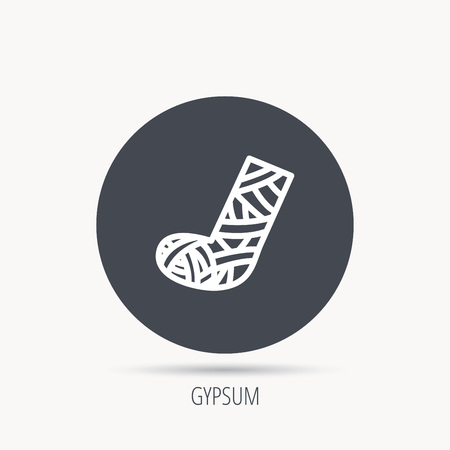 web cast: Gypsum or cast foot icon. Broken leg sign. Human recovery medicine symbol. Round web button with flat icon. Vector Illustration
