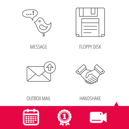 outbox: Achievement and video cam signs. Outbox mail, message and handshake icons. Floppy disk linear sign. Calendar icon. Vector Illustration