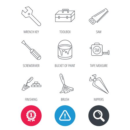 Achievement and search magnifier signs. Wrench key, screwdriver and paint brush icons. Toolbox, nippers and saw linear signs. Finishing spatula icon. Hazard attention icon. Vector