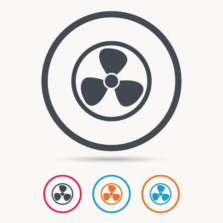turbine engine: Ventilation icon. Air ventilator or fan symbol. Colored circle buttons with flat web icon. Vector