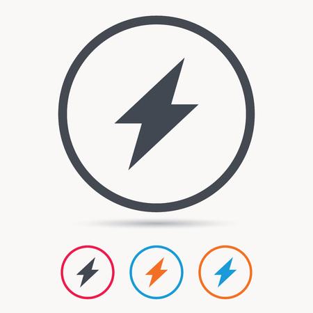 Blitz-Symbol. Elektrizität Energiekraftsymbol. Blau Kreis-Taste, Mit ...