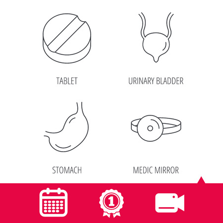 gastroenterology: Achievement and video cam signs. Medical mirror, tablet and stomach organ icons. Urinary bladder linear sign. Calendar icon. Vector