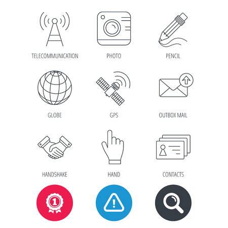 Achievement and search magnifier signs. Handshake, contacts and gps satellite icons. Pencil, photo camera and mail linear signs. Telecommunication station flat line icons. Hazard attention icon Illustration